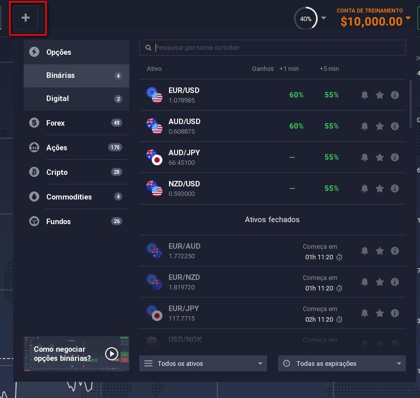 produtos na plataforma iq option